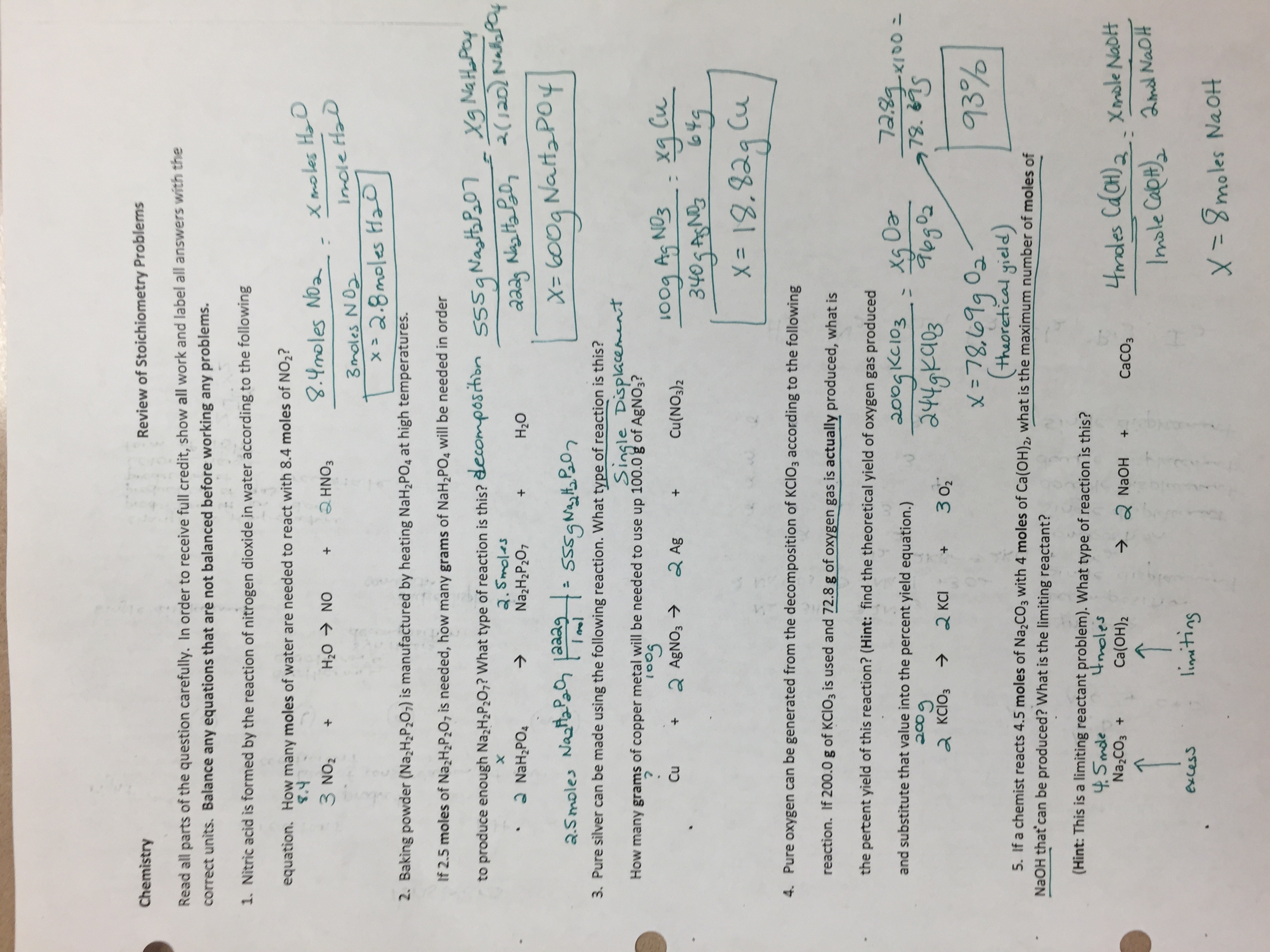 March Buford High SchoolMs Green – Limiting Reactant Problems Worksheet